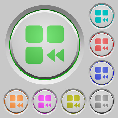 Component fast backward color icons on sunk push buttons