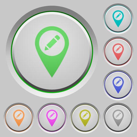 Rename GPS map location color icons on sunk push buttons  イラスト・ベクター素材