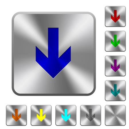 Iconos de flecha hacia abajo grabados en botones cuadrados redondeados de acero brillante