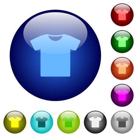 T-shirt icons on round color glass buttons