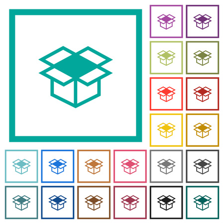 Open box flat color icons with quadrant frames on white background