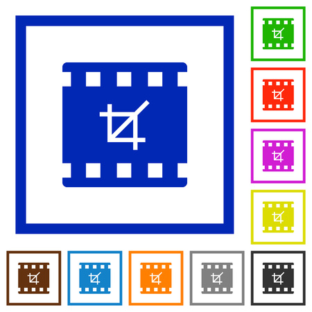 Crop movie flat color icons in square frames on white background