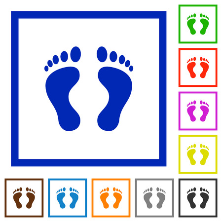 Human Footprints flat color icons in square frames on white background