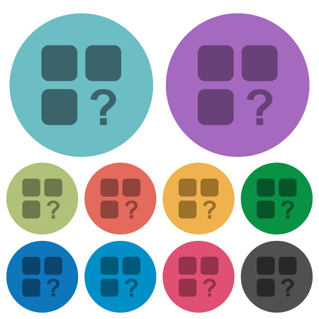 Unknown component darker flat icons on color round background Illustration