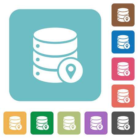 Database location white flat icons on color rounded square backgrounds