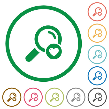 Favorite search flat color icons in round outlines on white background