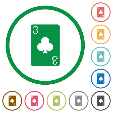 Three of clubs card flat color icons in round outlines on white background