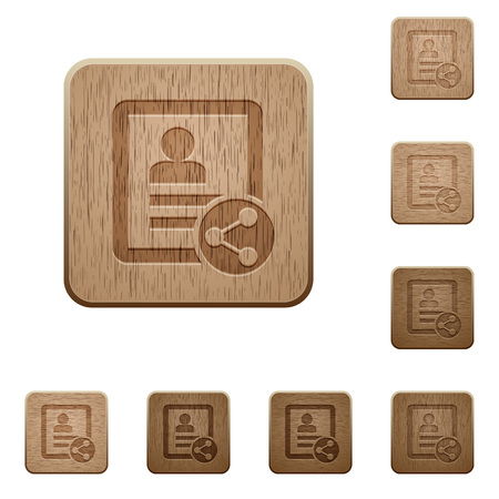 Share contact on rounded square carved wooden button styles