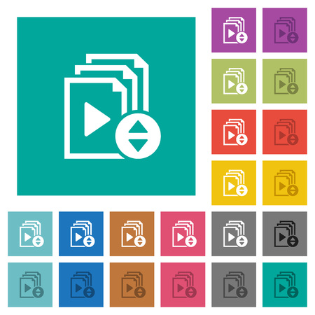 Select playlist item multi colored flat icons on plain square backgrounds. Included white and darker icon variations for hover or active effects.