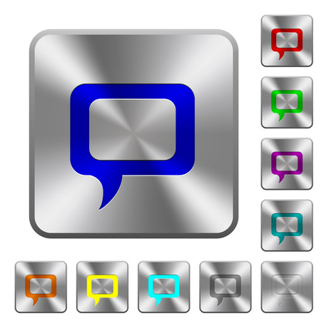 Empty comment bubble engraved icons on rounded square glossy steel buttons Иллюстрация