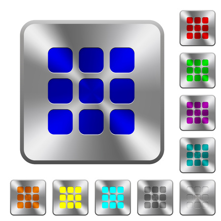 Small thumbnail view mode engraved icons on rounded square glossy steel buttons Illustration