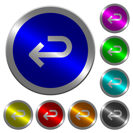 Back arrow icons on round luminous coin-like color steel buttons