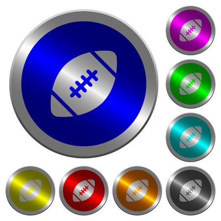Rugby ball icons on round luminous coin-like color steel buttons Illustration