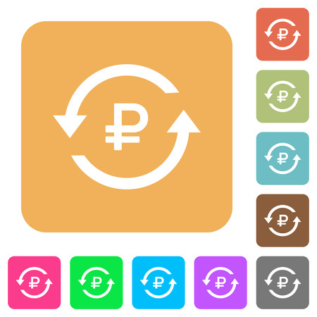 Ruble pay back flat icons on rounded square vivid color backgrounds.