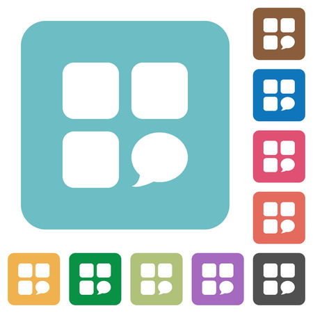 Message component white flat icons on color rounded square backgrounds Banque d'images - 102199694