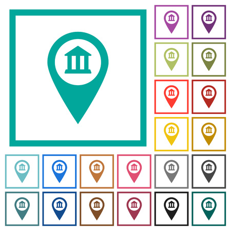 Bank office GPS map location flat color icons with quadrant frames on white background Illustration