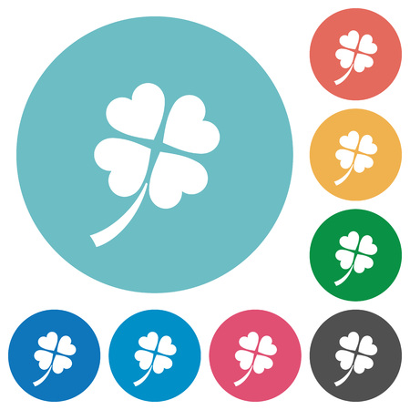 Four leaf clover flat white icons on round color backgrounds
