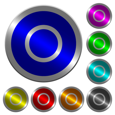 Media record icons on round luminous coin-like color steel buttons Çizim