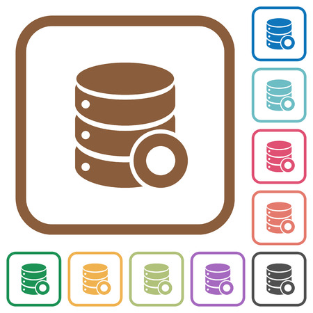 Database macro record simple icons in color rounded square frames on white background