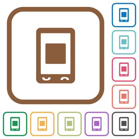 Les médias mobiles arrêtent des icônes simples dans des cadres carrés arrondis de couleur sur fond blanc