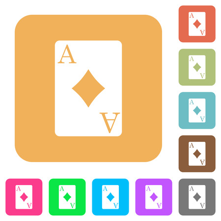 Ace of diamonds card flat icons on rounded square vivid color backgrounds. Foto de archivo - 102245233