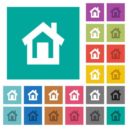 Home multi colored flat icons on plain square backgrounds. Included white and darker icon variations for hover or active effects.