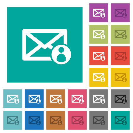 Mail sender multi colored flat icons on plain square backgrounds. Included white and darker icon variations for hover or active effects. Illustration