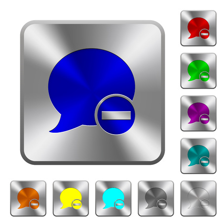 Delete blog comment engraved icons on rounded square glossy steel buttons Illustration