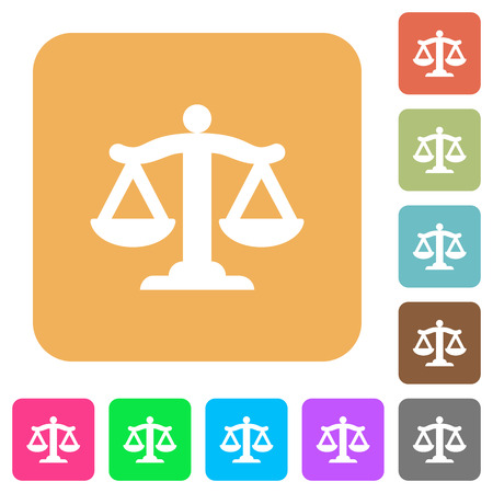 Scale of law flat icons on rounded square vivid color backgrounds.