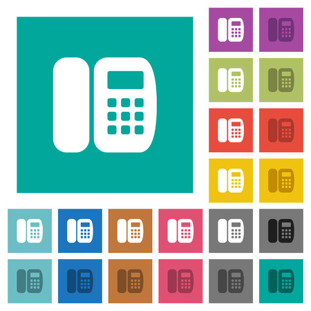 Office phone multi colored flat icons on plain square backgrounds. Included white and darker icon variations for hover or active effects.