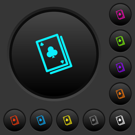 Card game dark push buttons with vivid color icons on dark grey background Иллюстрация