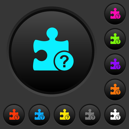 Unknown plugin dark push buttons with vivid color icons on dark grey background