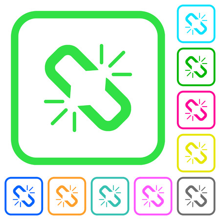 Unlink vivid colored flat icons in curved borders on white background Illustration