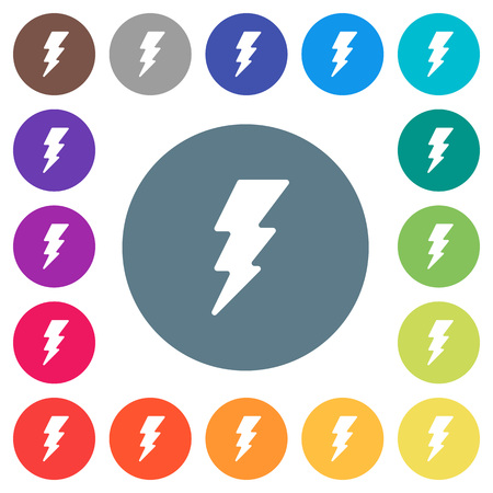 Flash flat white icons on round color backgrounds. 17 background color variations are included.