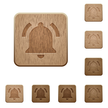 Active notification on rounded square carved wooden button styles