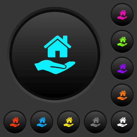 Home insurance dark push buttons with vivid color icons on dark grey background