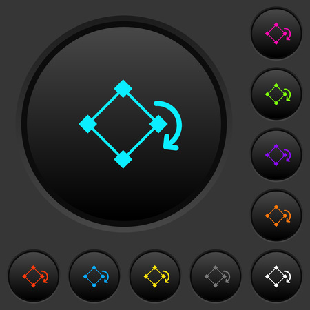 Rotate element dark push buttons with vivid color icons on dark grey background Vectores