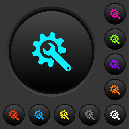 Wrench with cogwheel dark push buttons with vivid color icons on dark grey background