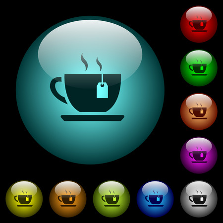 Cup of tea with teabag icons in color illuminated spherical glass buttons on black background. Can be used to black or dark templates