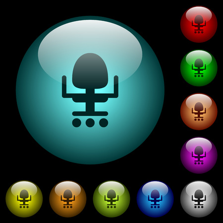 Office chair icons in color illuminated spherical glass buttons on black background. Can be used to black or dark templates