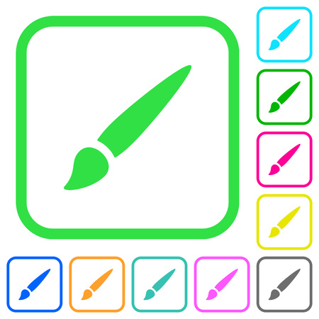 Brush vivid colored flat icons in curved borders on white background