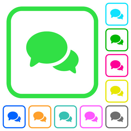 Discussion vivid colored flat icons in curved borders on white background