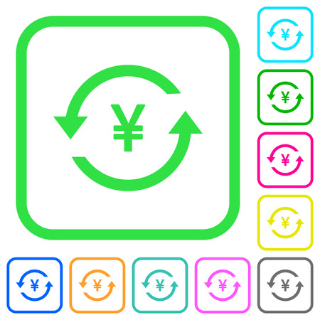 Yen pay back vivid colored flat icons in curved borders on white background