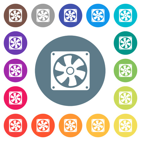 Computer fan flat white icons on round color backgrounds. 17 background color variations are included.