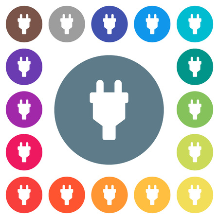 Power connector flat white icons on round color backgrounds. 17 background color variations are included.