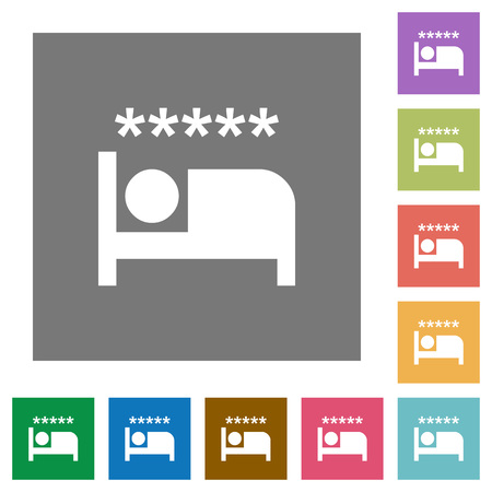 Luxury hotel flat icons on simple color square backgrounds 스톡 콘텐츠 - 102245496