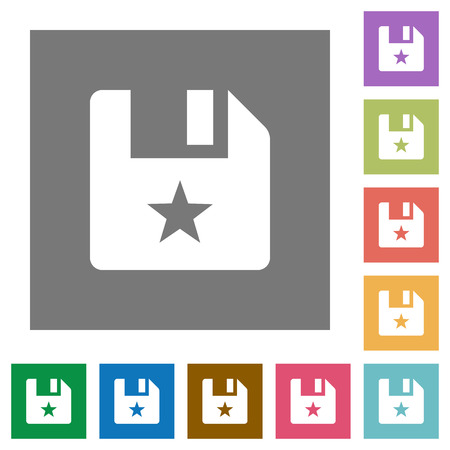Marked file flat icons on simple color square backgrounds