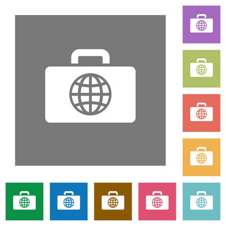Travel bag flat icons on simple color square backgrounds