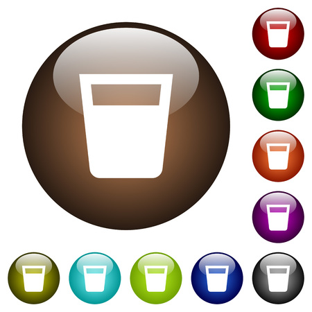Drink white icons on round color glass buttons Illustration