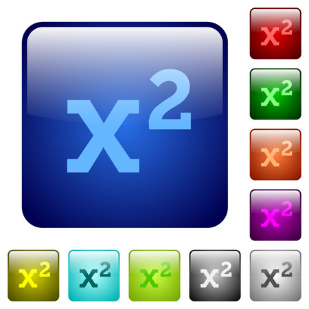 Math exponentiation icons in rounded square color glossy button set Illusztráció